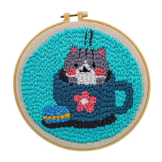 DIY Punch Needle Kit Handcraft Woolen Embroidery Creative Gift with 21cm Frame  - Cat in Cup