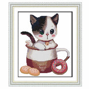 Kitten In The Cup-  DIY Cross Stitch Kits - idiypaint