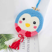 DIY Punch Needle Rug Hooking Kit Knitting Wool WIth 5cm Imitation Bamboo Embroidery  Frame-Penguin Ornament