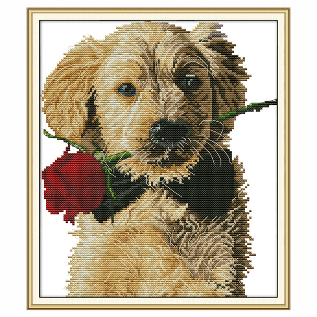 Dog and Rose -  DIY Cross Stitch Kits - idiypaint