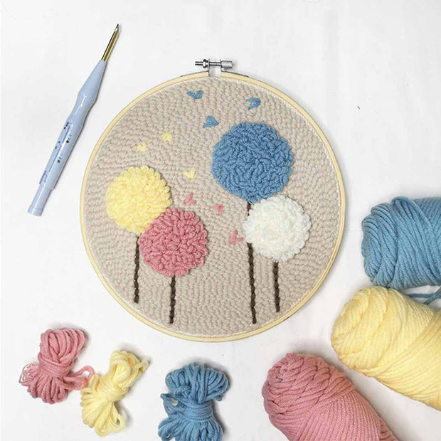 Flower DIY Knitting Wool Rug Hooking Punch Needle Embroidery Kit - idiypaint