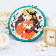 DIY Punch Needle Rug Hooking Kit Knitting Wool with Scissor A-frame Wooden Frame - Fox Girl - idiypaint