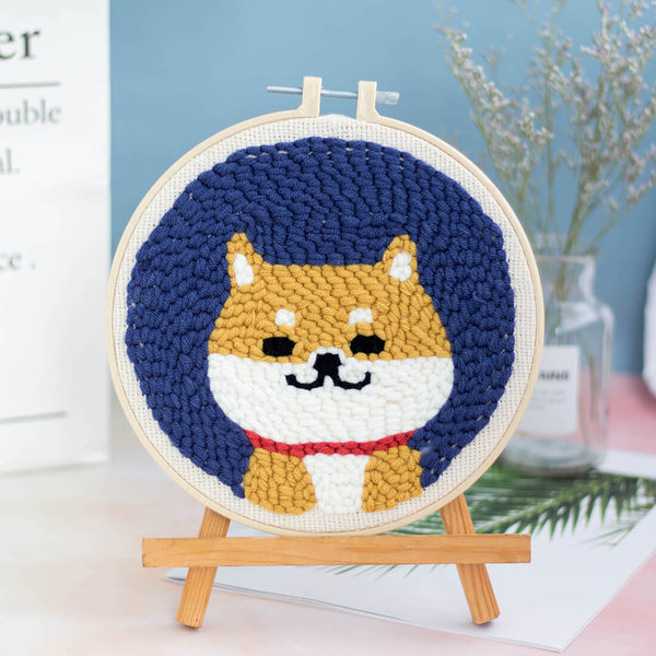 Cute Dog Punch Needle Embroidery DIY Rug Hooking Kit - idiypaint
