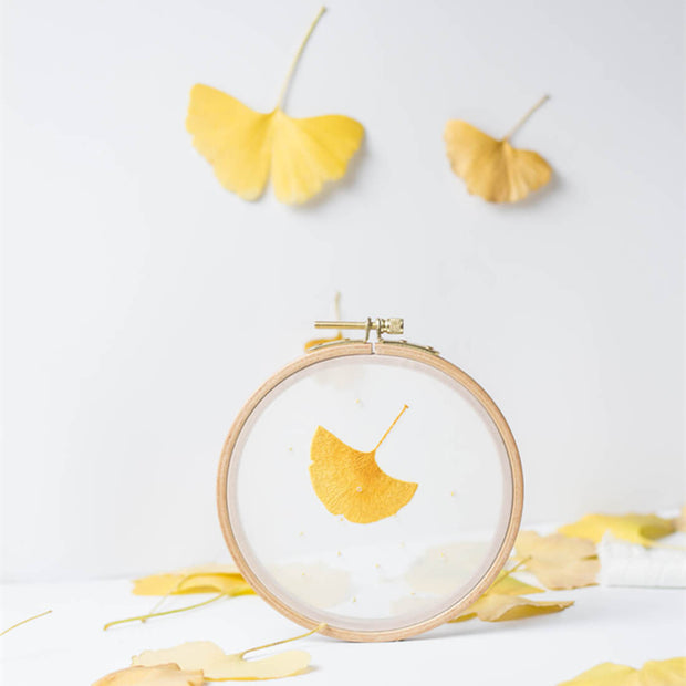 DIY Counted Cross Stitch Embroidery Starter Kit with Hoop- Ginkgo - idiypaint