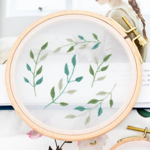 DIY Counted Cross Stitch Embroidery Starter Kit with Hoop- Lanceolate Leaf - idiypaint