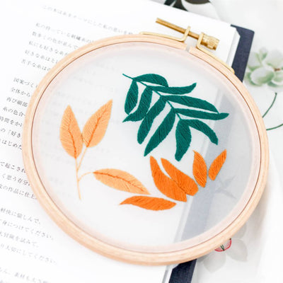 DIY Counted Cross Stitch Embroidery Starter Kit with Hoop- Leaves - idiypaint