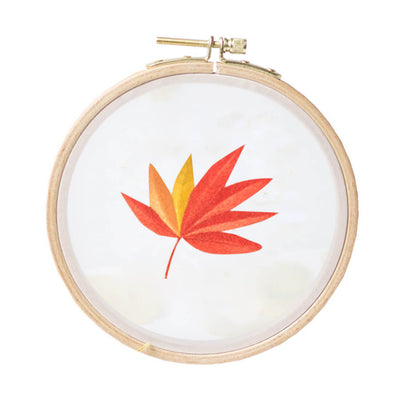 DIY Counted Cross Stitch Embroidery Starter Kit with Hoop-  Maple Leaf - idiypaint