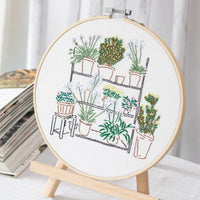 DIY Counted Cross Stitch Embroidery Starter Kit with Hoop- Plant 15* 15 - idiypaint