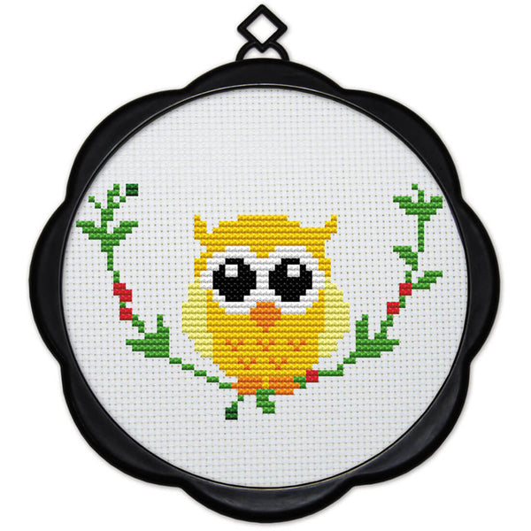 DIY Counted Cross Stitch Embroidery Starter Kit with Hoop 17 x 17 cm-Owl - idiypaint