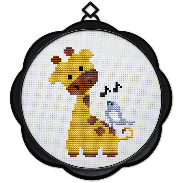 DIY Counted Cross Stitch Embroidery Starter Kit with Hoop 17 x 17 cm- Giraffe - idiypaint