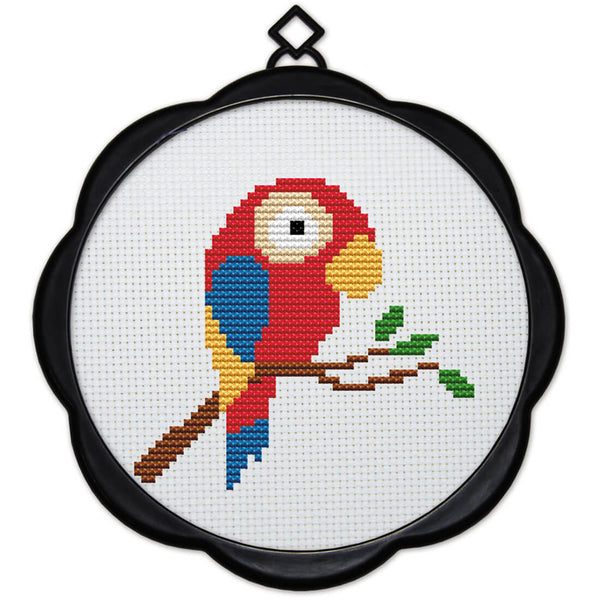 DIY Counted Cross Stitch Embroidery Starter Kit with Hoop 17 x 17 cm- Parrot - idiypaint