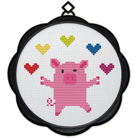 DIY Counted Cross Stitch Embroidery Starter Kit with Hoop 17 x 17 cm- Piggy - idiypaint