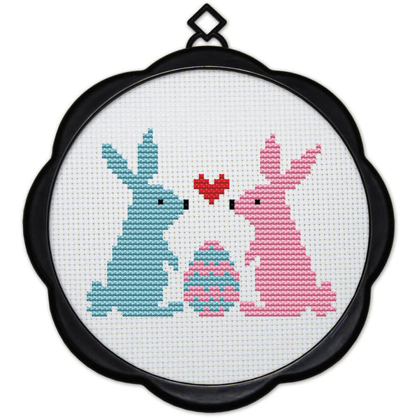 DIY Counted Cross Stitch Embroidery Starter Kit with Hoop 17 x 17 cm- Rabbit Love - idiypaint