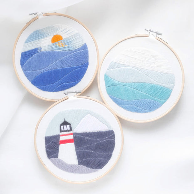 DIY Cross Stitch Embroidery Starter Kit with Bamboo Embroidery Hoop - Lighthouse  15 x 15cm - idiypaint
