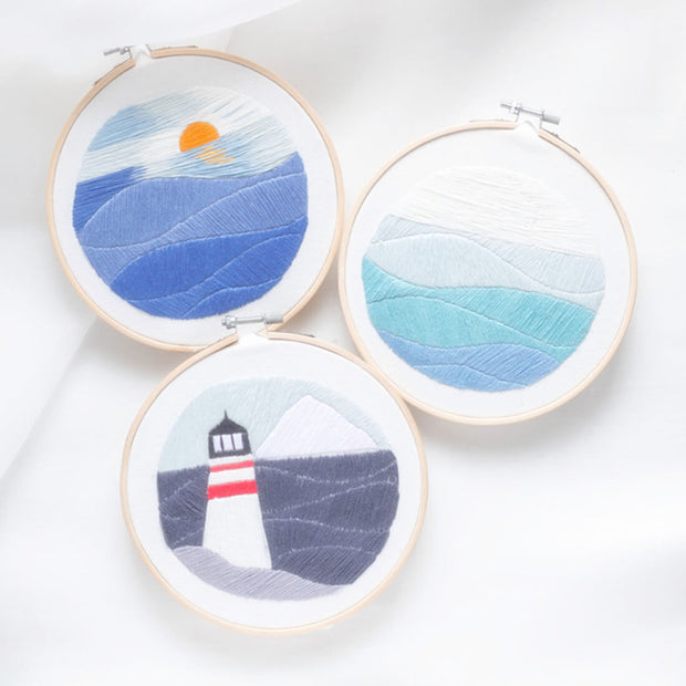 DIY Cross Stitch Embroidery Starter Kit with Bamboo Embroidery Hoop - Sunrise 15 x 15cm - idiypaint