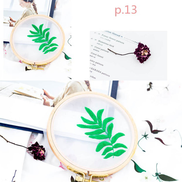 DIY Gauze Cross Stitch Embroidery Starter Kit with Bamboo Embroidery Hoop - Albizzia Leaves 12 x 12cm - idiypaint