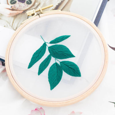 DIY Gauze Cross Stitch Embroidery Starter Kit with Bamboo Embroidery Hoop - Elm Leaves - idiypaint