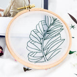 DIY Gauze Cross Stitch Embroidery Starter Kit with Bamboo Embroidery Hoop - Leaves Outline 12 x 12cm - idiypaint