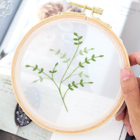 DIY Gauze Cross Stitch Embroidery Starter Kit with Bamboo Embroidery Hoop - Partysu 12 x 12cm - idiypaint