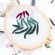 DIY Gauze Cross Stitch Embroidery Starter Kit with Bamboo Embroidery Hoop - Peach Leaves 12 x 12cm - idiypaint