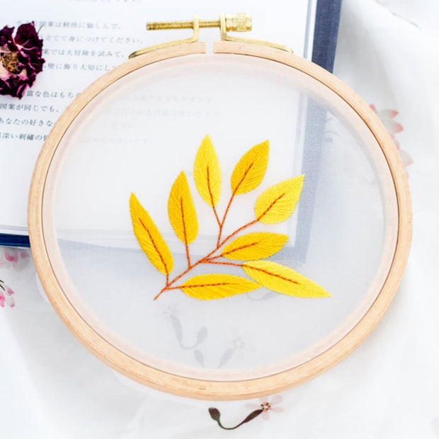 DIY Gauze Cross Stitch Embroidery Starter Kit with Bamboo Embroidery Hoop - Pearl Sea Leaf 12 x 12cm - idiypaint