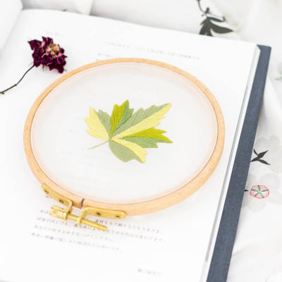 DIY Gauze Cross Stitch Embroidery Starter Kit with Bamboo Embroidery Hoop - Pentagonal Leaves - idiypaint