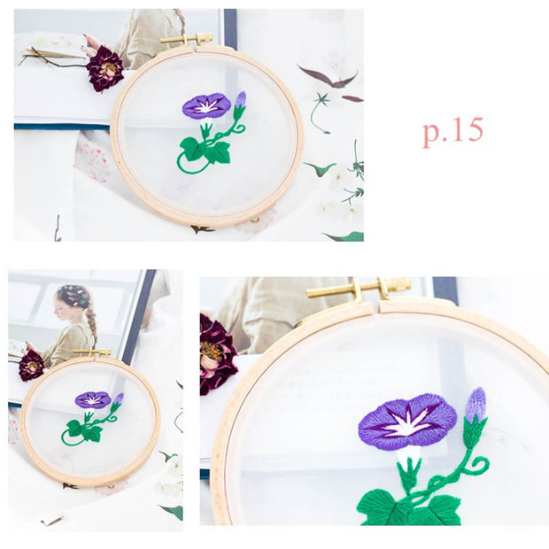DIY Gauze Cross Stitch Embroidery Starter Kit with Bamboo Embroidery Hoop - Petunia 12 x 12cm - idiypaint