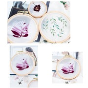 DIY Gauze Cross Stitch Embroidery Starter Kit with Bamboo Embroidery Hoop - Purple Leaves 12 x 12cm - idiypaint