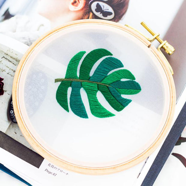 DIY Gauze Cross Stitch Embroidery Starter Kit with Bamboo Embroidery Hoop - Star Anise Leaf 12 x 12cm - idiypaint