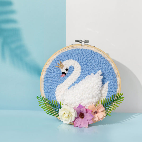 DIY Rug Hooking Punch Needle Handcraft- Swan - idiypaint