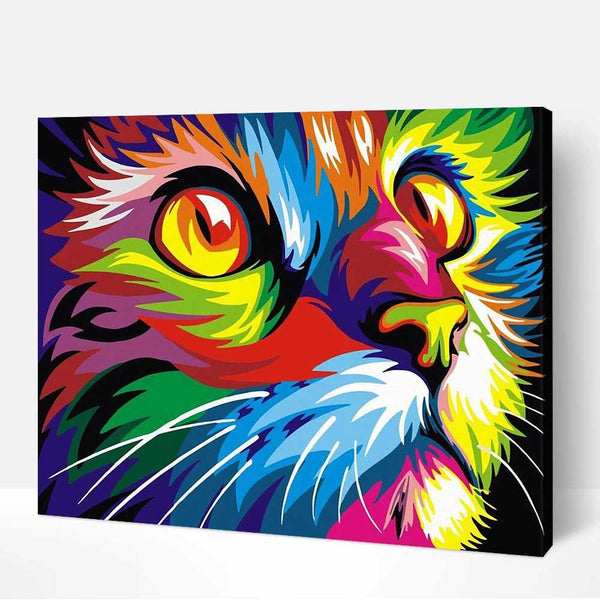 DIY Paint by Numbers Kits with Frame for Wall Decoration-Colorful Cat - idiypaint