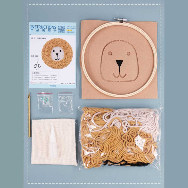 Lion DIY Rug Hooking Punch Needle Embroidery Hand Craft - idiypaint