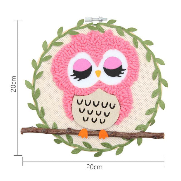 Owl DIY Rug Hooking Punch Needle Embroidery Hand Craft - idiypaint