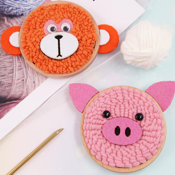 Piggy Monkey Set DIY Rug Hooking Punch Needle Handcraft - idiypaint