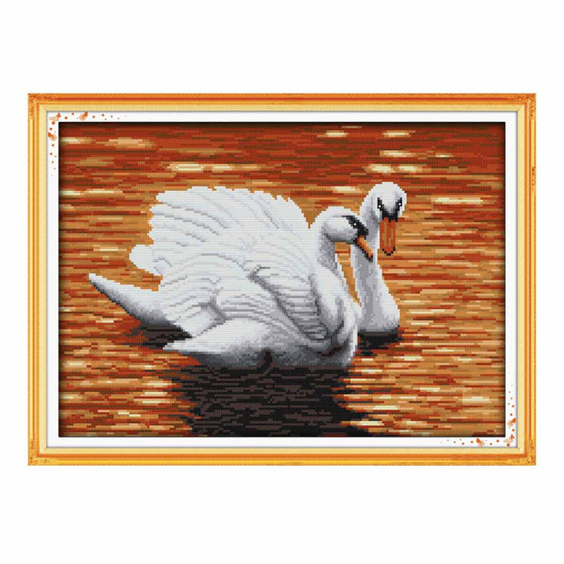 Two Swans -  DIY Cross Stitch Kits - idiypaint