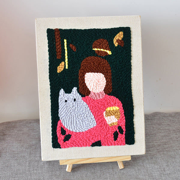 Copy of DIY Punch Needle Rug Hooking Kit Knitting Wool with 26 x 35cm Wooden Frame - A Girl Holding Cat