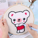 Little Bear Girl DIY Knitting Wool Rug Hooking Punch Needle Embroidery Kit-without Holder - idiypaint