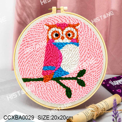DIY Punch Needle Kit Handcraft Woolen Embroidery Creative Gift with 21cm Frame  - Owl