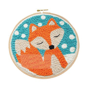 DIY Punch Needle Rug Hooking Kit Knitting Wool with  Embroidery Frame - Fox