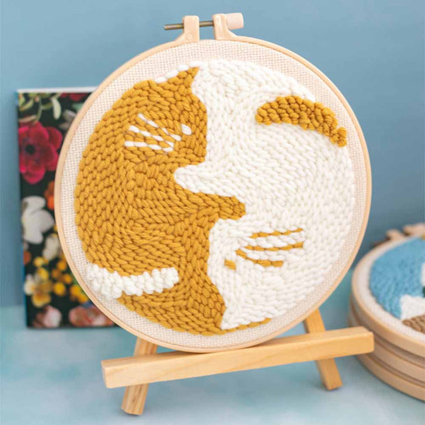 DIY Punch Needle Kit Handcraft Creative Gift with Embroidery Frame - Lazy Cat