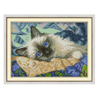 Blue Eye Cat-  DIY Cross Stitch Kits - idiypaint