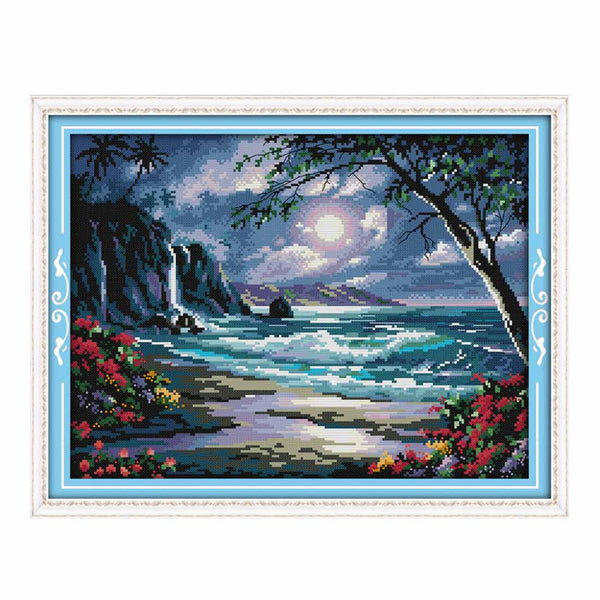 Sea Of The Moon-  DIY Cross Stitch Kits - idiypaint