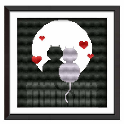 Couple Cat Silhouette-  DIY Cross Stitch Kits - idiypaint
