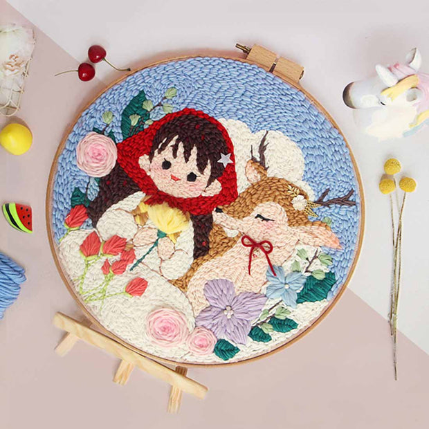 DIY Punch Needle Rug Hooking Kit Knitting Wool  with Scissor A-frame Wooden Frame - Young Girl and Deer
