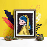DIY Punch Needle Rug Hooking Kit Knitting Wool with Scissor A-frame Wooden Frame -Girl with a Pearl Earring