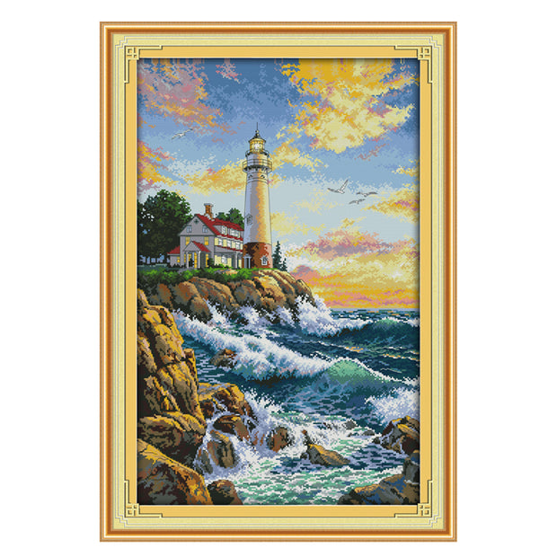 Seaside Lighthouse-  DIY Cross Stitch Kits - idiypaint