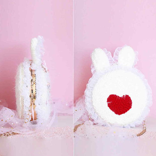 DIY Knitting Wool Rug Hooking Kit Handcraft Woolen Embroidery Creative Gift with Poke Needle and Chain - Rabbit Bag
