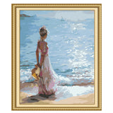 Girl looking At The Sea-40*50cm DIY Paint by Numbers Kits - idiypaint