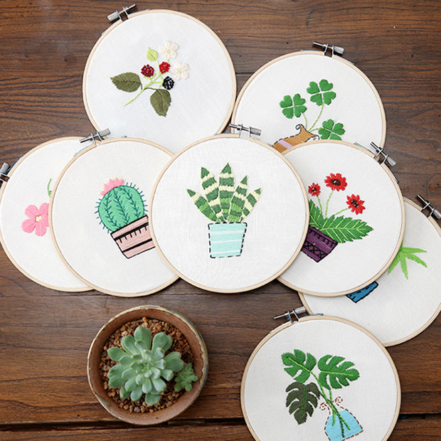 15 x 15cm DIY Counted Cross Stitch Embroidery Starter Kit with Hoop - Flowers - idiypaint