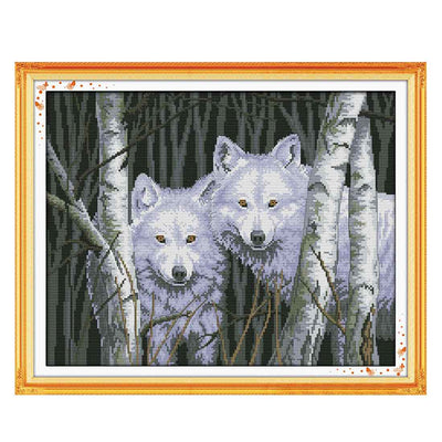Forest Wolf -  DIY Cross Stitch Kits - idiypaint